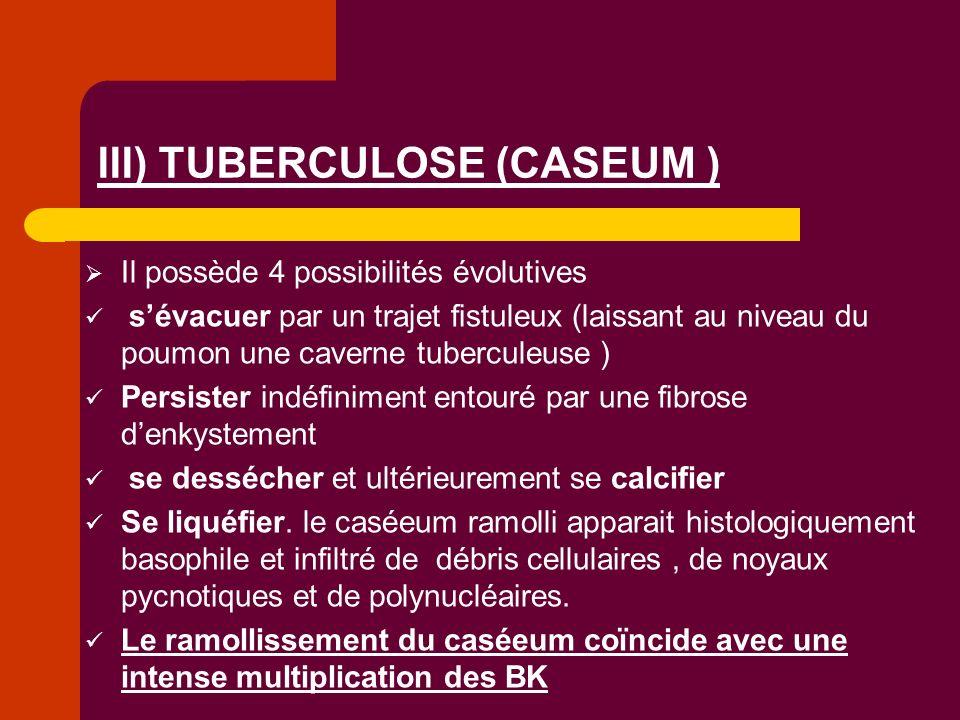 Il possède 4 possibilités évolutives sévacuer par un trajet fistuleux (laissant au niveau du poumon une caverne tuberculeuse ) Persister indéfiniment