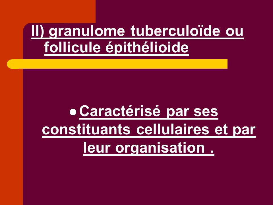 II) granulome tuberculoïde ou follicule épithélioide Caractérisé par ses constituants cellulaires et par leur organisation.