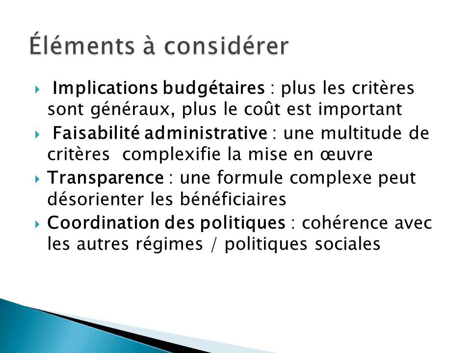Implications budgétaires : plus les critères sont généraux, plus le coût est important Faisabilité administrative : une multitude de critères complexifie la mise en œuvre Transparence : une formule complexe peut désorienter les bénéficiaires Coordination des politiques : cohérence avec les autres régimes / politiques sociales
