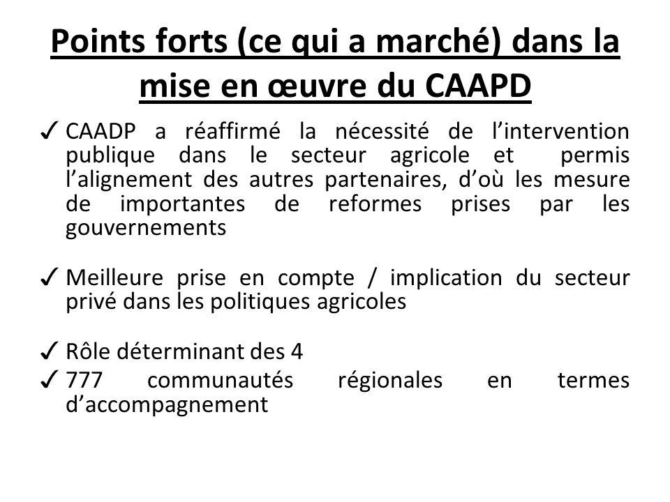 Points forts (ce qui a marché) dans la mise en œuvre du CAAPD CAADP a réaffirmé la nécessité de lintervention publique dans le secteur agricole et permis lalignement des autres partenaires, doù les mesure de importantes de reformes prises par les gouvernements Meilleure prise en compte / implication du secteur privé dans les politiques agricoles Rôle déterminant des 4 777 communautés régionales en termes daccompagnement
