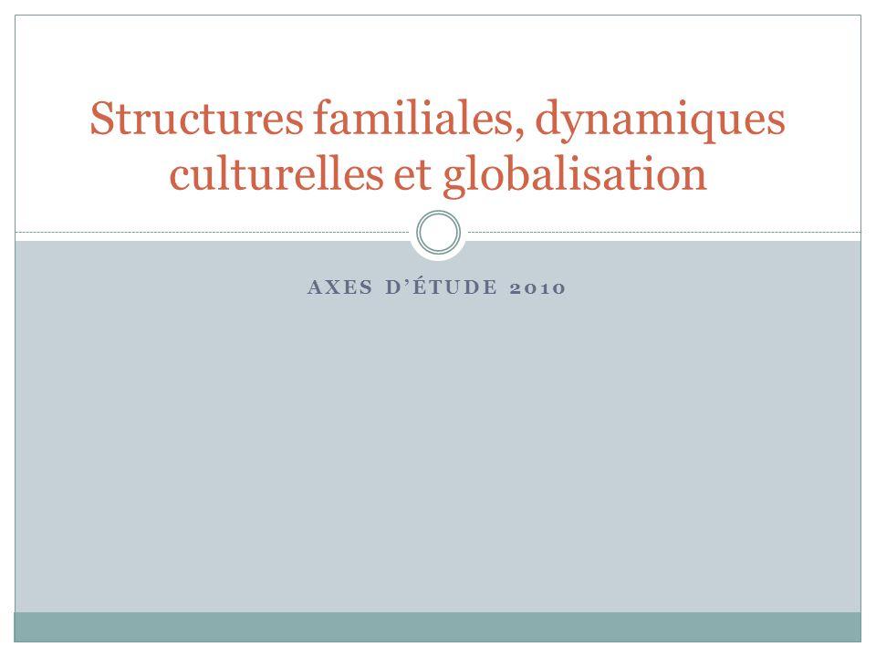 AXES DÉTUDE 2010 Structures familiales, dynamiques culturelles et globalisation