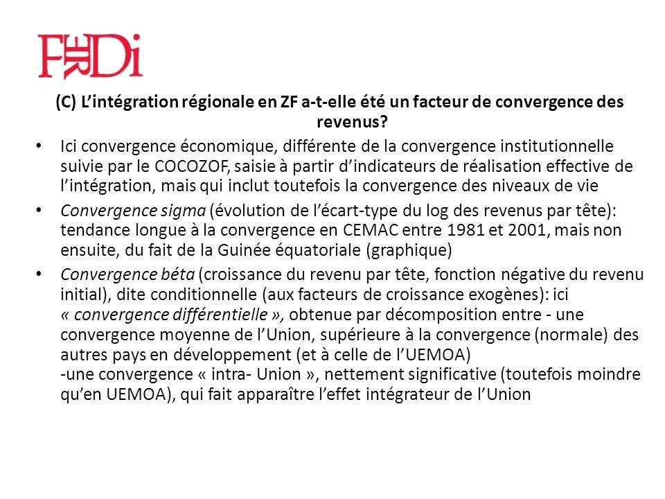 (C) Lintégration régionale en ZF a-t-elle été un facteur de convergence des revenus.
