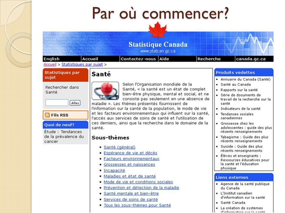 Par où commencer? Portail de Statistique Canada