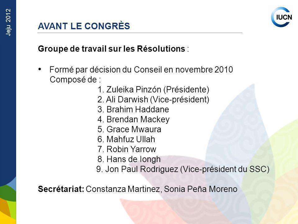 Jeju 2012 Groupe de travail sur les Résolutions : Formé par décision du Conseil en novembre 2010 Composé de : 1. Zuleika Pinzón (Présidente) 2. Ali Da