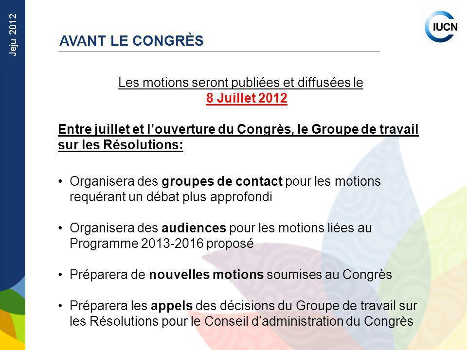 Jeju 2012 Les motions seront publiées et diffusées le 8 Juillet 2012 Entre juillet et louverture du Congrès, le Groupe de travail sur les Résolutions: