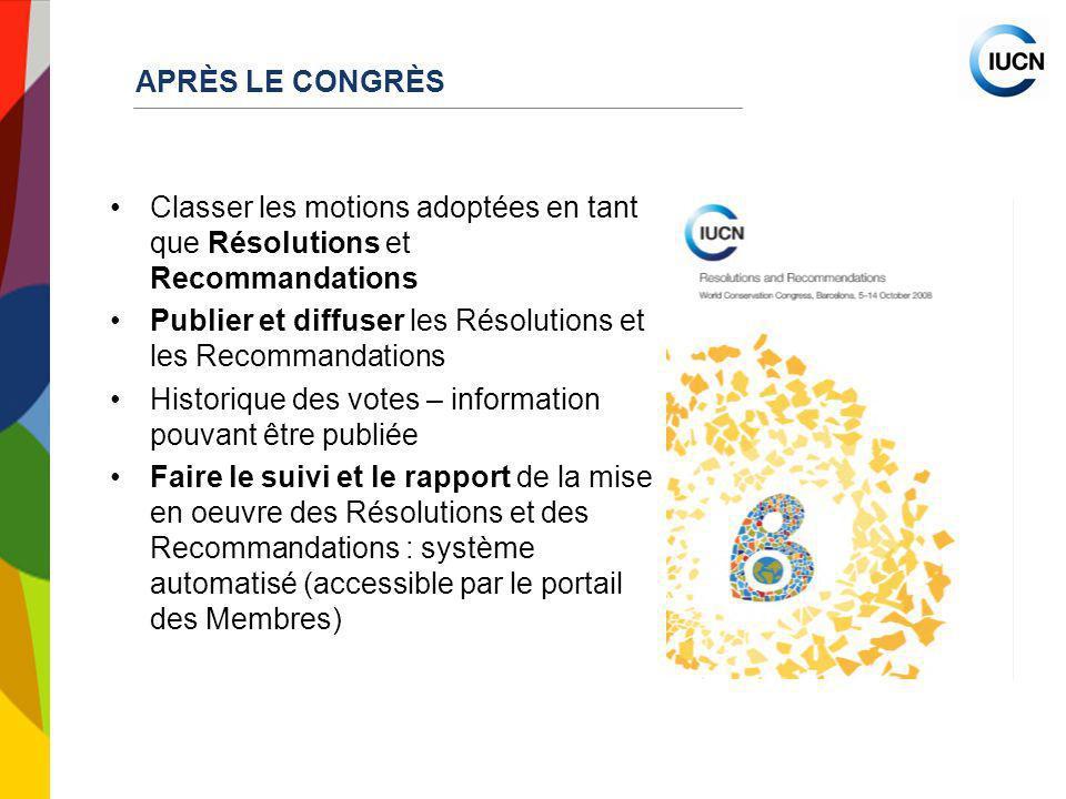 INTERNATIONAL UNION FOR CONSERVATION OF NATUR APRÈS LE CONGRÈS Classer les motions adoptées en tant que Résolutions et Recommandations Publier et diff