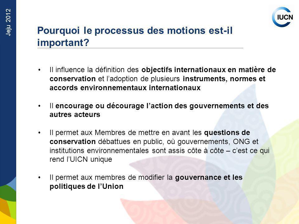 Jeju 2012 Il influence la définition des objectifs internationaux en matière de conservation et ladoption de plusieurs instruments, normes et accords