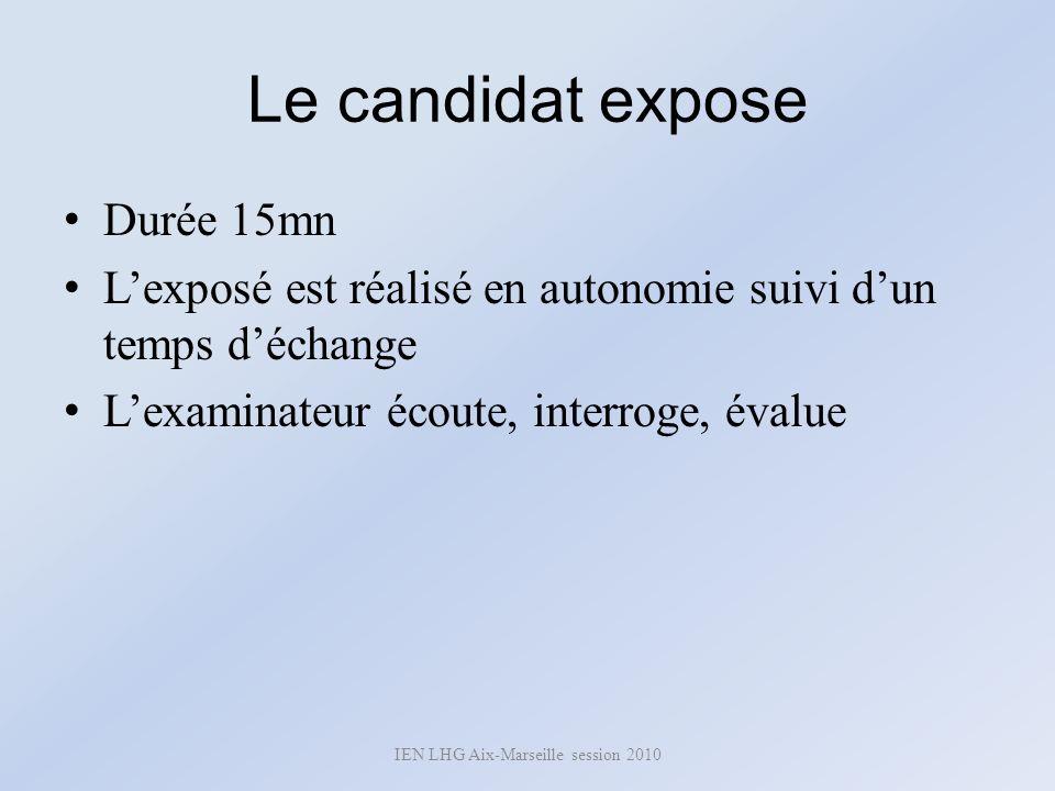 Le candidat expose Durée 15mn Lexposé est réalisé en autonomie suivi dun temps déchange Lexaminateur écoute, interroge, évalue IEN LHG Aix-Marseille s