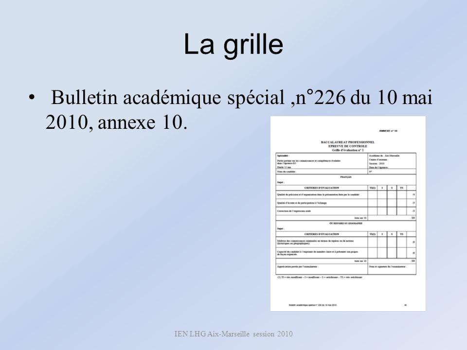 La grille Bulletin académique spécial,n°226 du 10 mai 2010, annexe 10. IEN LHG Aix-Marseille session 2010