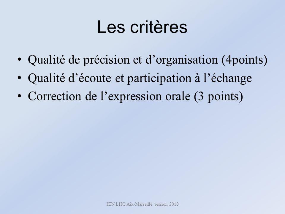 Les critères Qualité de précision et dorganisation (4points) Qualité découte et participation à léchange Correction de lexpression orale (3 points) IE