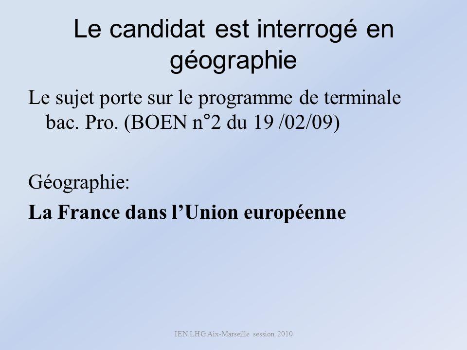 Le candidat est interrogé en géographie Le sujet porte sur le programme de terminale bac. Pro. (BOEN n°2 du 19 /02/09) Géographie: La France dans lUni