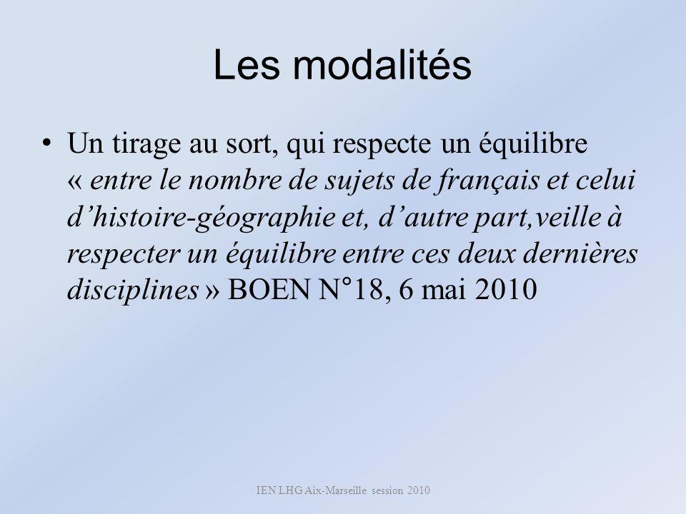 Les modalités Un tirage au sort, qui respecte un équilibre « entre le nombre de sujets de français et celui dhistoire-géographie et, dautre part,veill