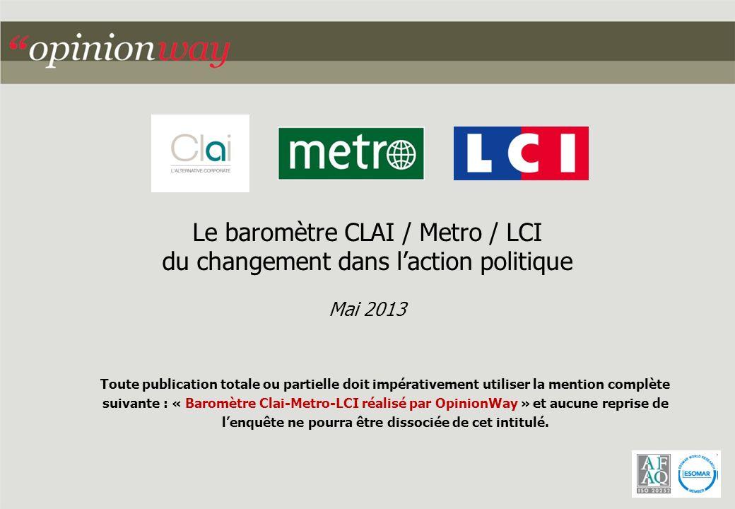 Le baromètre CLAI / Metro / LCI du changement dans laction politique Mai 2013 Toute publication totale ou partielle doit impérativement utiliser la mention complète suivante : « Baromètre Clai-Metro-LCI réalisé par OpinionWay » et aucune reprise de lenquête ne pourra être dissociée de cet intitulé.