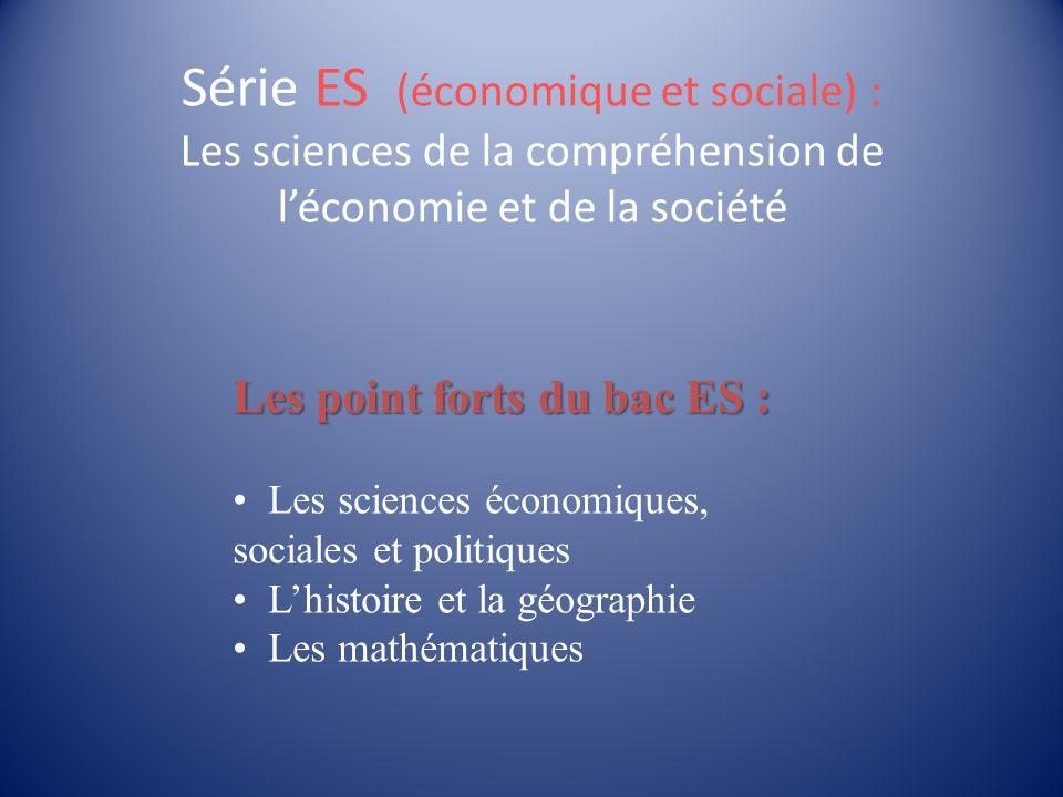 Série ES (économique et sociale) : Les sciences de la compréhension de léconomie et de la société Les point forts du bac ES : Les sciences économiques, sociales et politiques Lhistoire et la géographie Les mathématiques