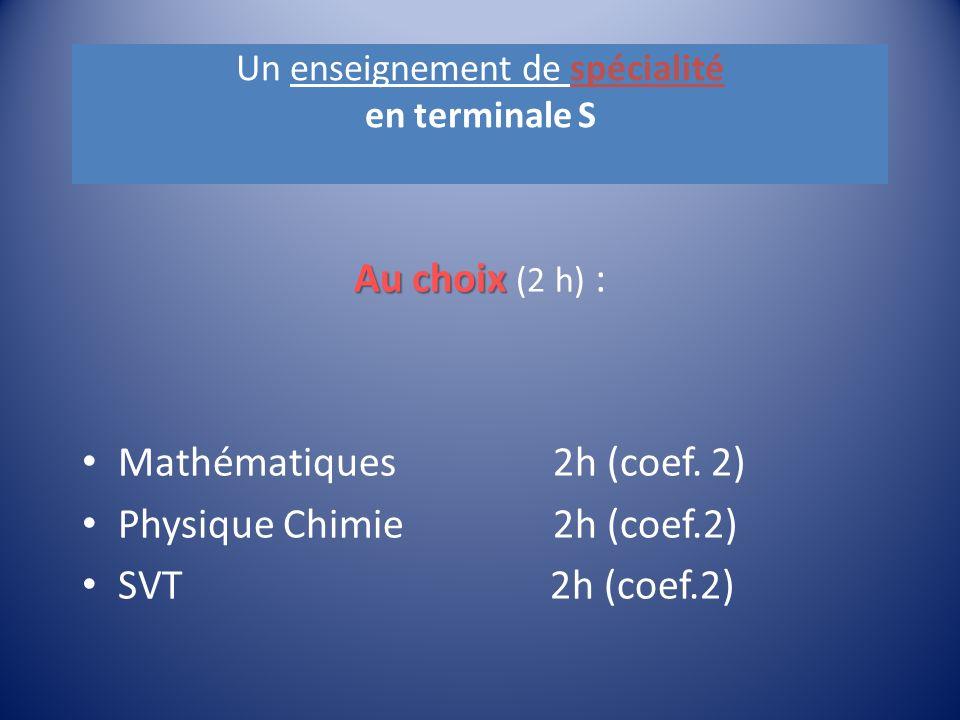 Un enseignement de spécialité en terminale S Au choix Au choix (2 h) : Mathématiques 2h (coef.