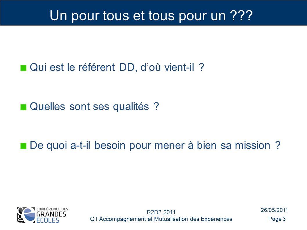 26/05/2011 R2D2 2011 GT Accompagnement et Mutualisation des Expériences Page 3 Qui est le référent DD, doù vient-il .