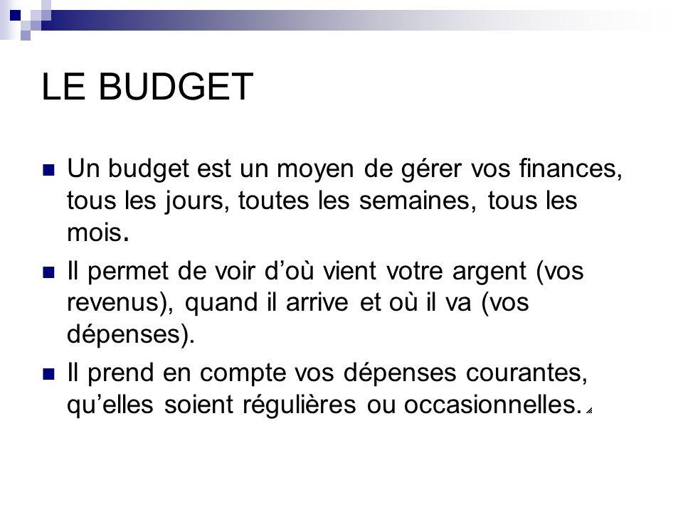 LE BUDGET Un budget est un moyen de gérer vos finances, tous les jours, toutes les semaines, tous les mois.