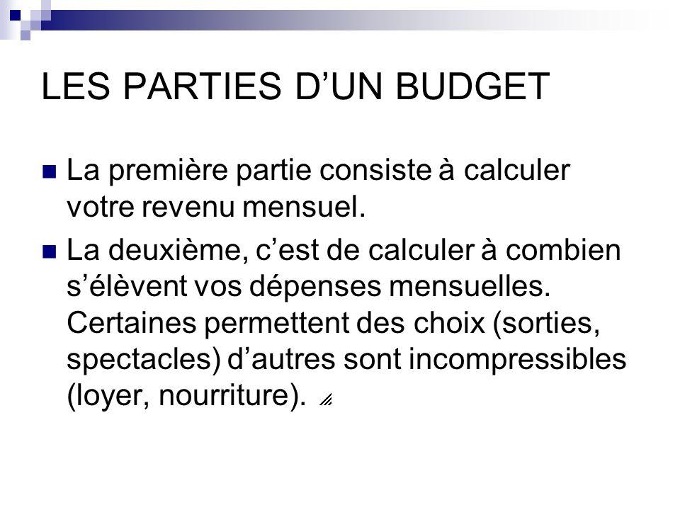 LES PARTIES DUN BUDGET La première partie consiste à calculer votre revenu mensuel.