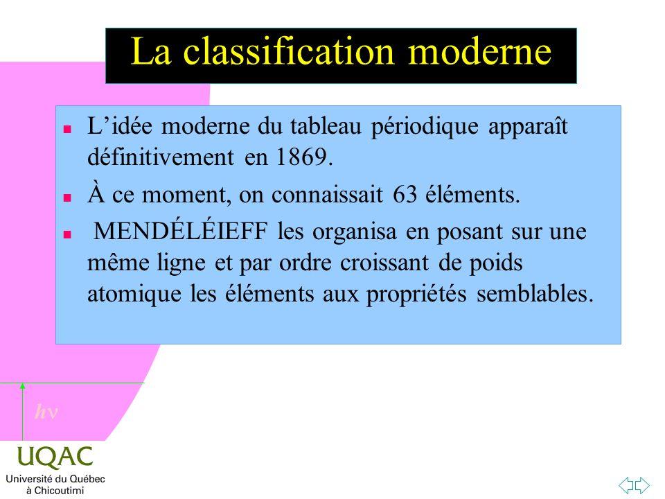 h La classification moderne n Lidée moderne du tableau périodique apparaît définitivement en 1869.