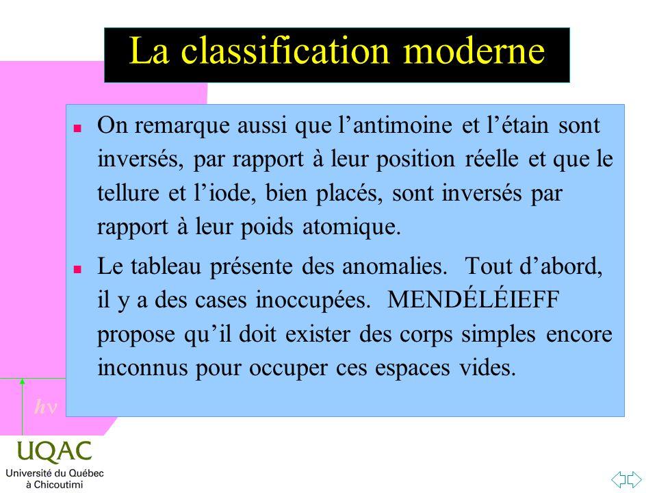 h La classification moderne n On remarque aussi que lantimoine et létain sont inversés, par rapport à leur position réelle et que le tellure et liode, bien placés, sont inversés par rapport à leur poids atomique.