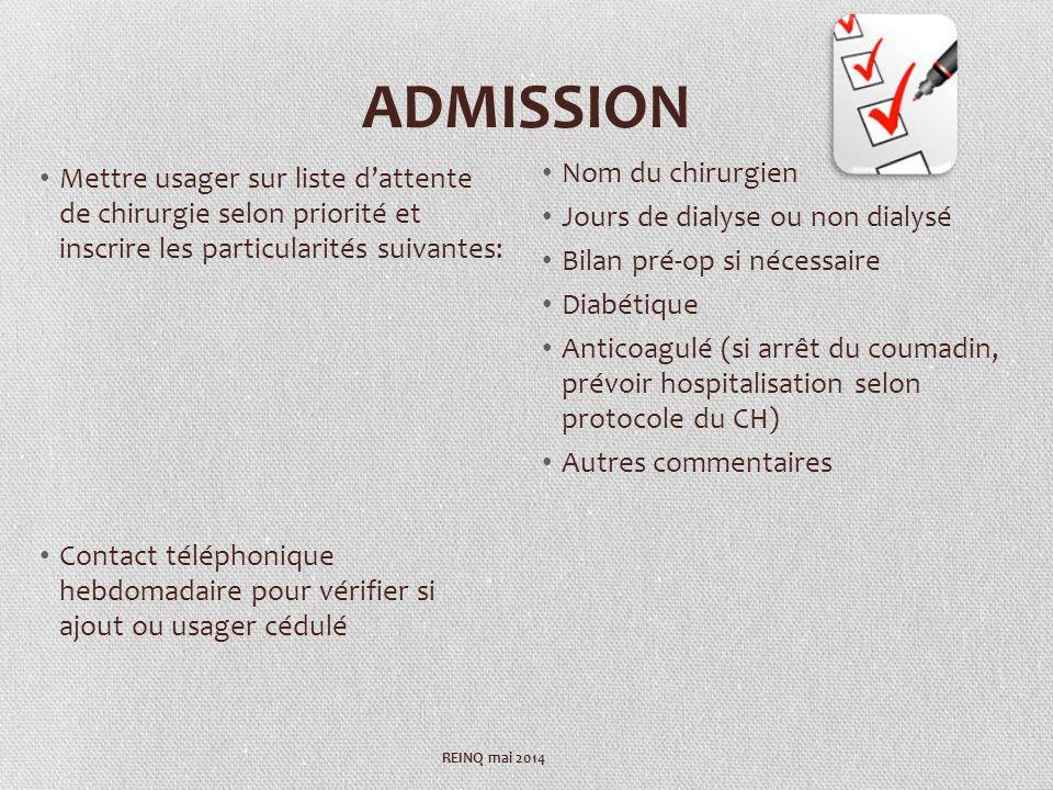 ADMISSION Mettre usager sur liste dattente de chirurgie selon priorité et inscrire les particularités suivantes: Contact téléphonique hebdomadaire pou