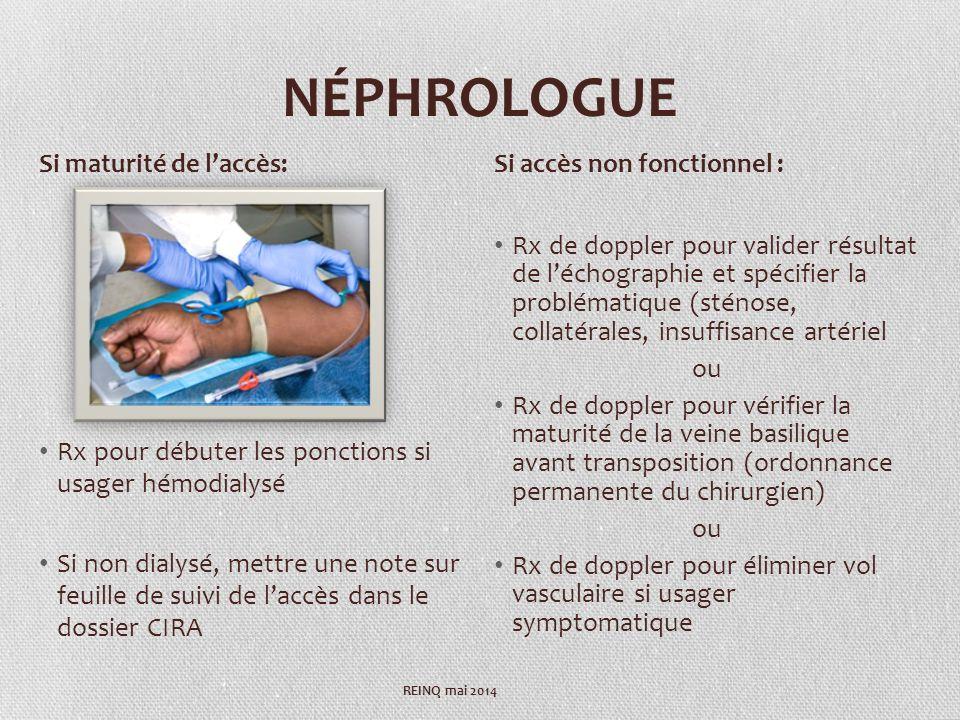 NÉPHROLOGUE Rx pour débuter les ponctions si usager hémodialysé Si non dialysé, mettre une note sur feuille de suivi de laccès dans le dossier CIRA Rx