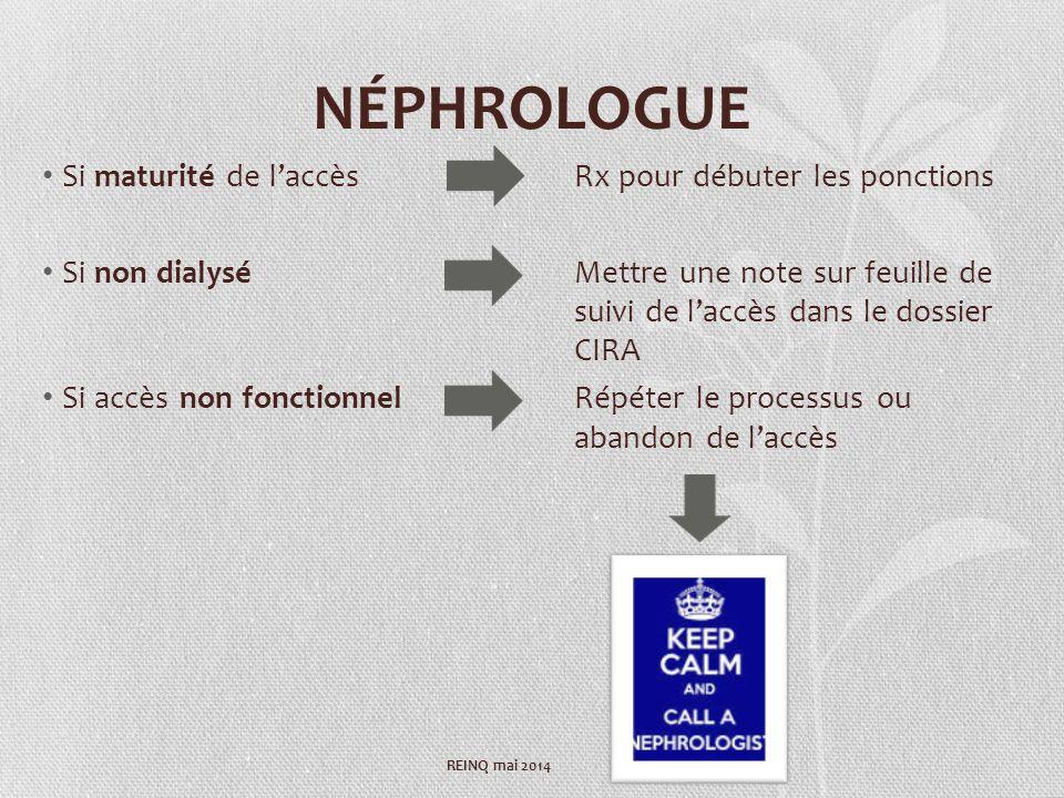 NÉPHROLOGUE Si maturité de laccès Rx pour débuter les ponctions Si non dialyséMettre une note sur feuille de suivi de laccès dans le dossier CIRA Si a