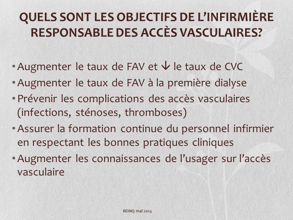QUELS SONT LES OBJECTIFS DE LINFIRMIÈRE RESPONSABLE DES ACCÈS VASCULAIRES.