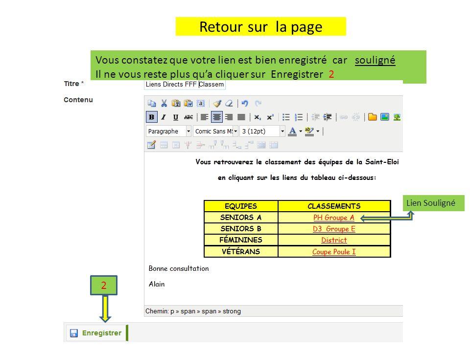 Activation de la Page Cliquer sur licône Vert « Activer/désactiver » pour activer la page