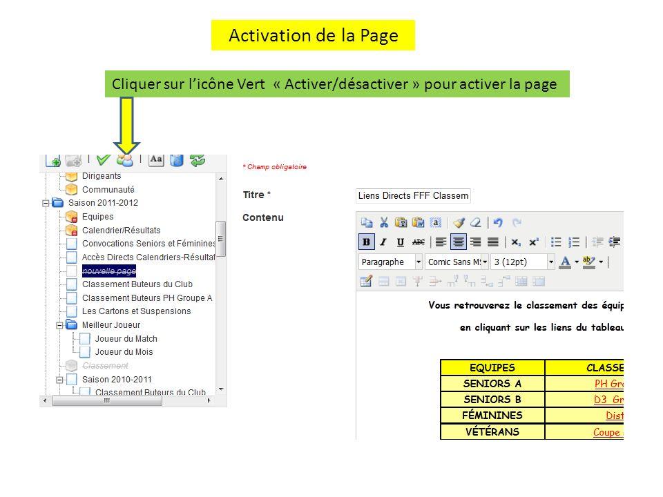Enregistrer la nouvelle page La nouvelle page est maintenant activée (1) Cliquer sur Enregistrer pour valider lactivation de celle-ci 1