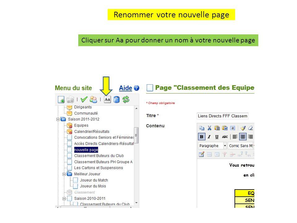 Renommer votre nouvelle page (suite) Donner lui le nom que vous souhaitez et cliquez ensuite en dehors de la zone décriture pour valider