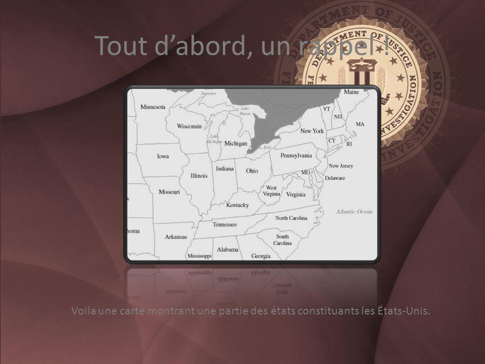 Tout dabord, un rappel ! Voila une carte montrant une partie des états constituants les États-Unis.