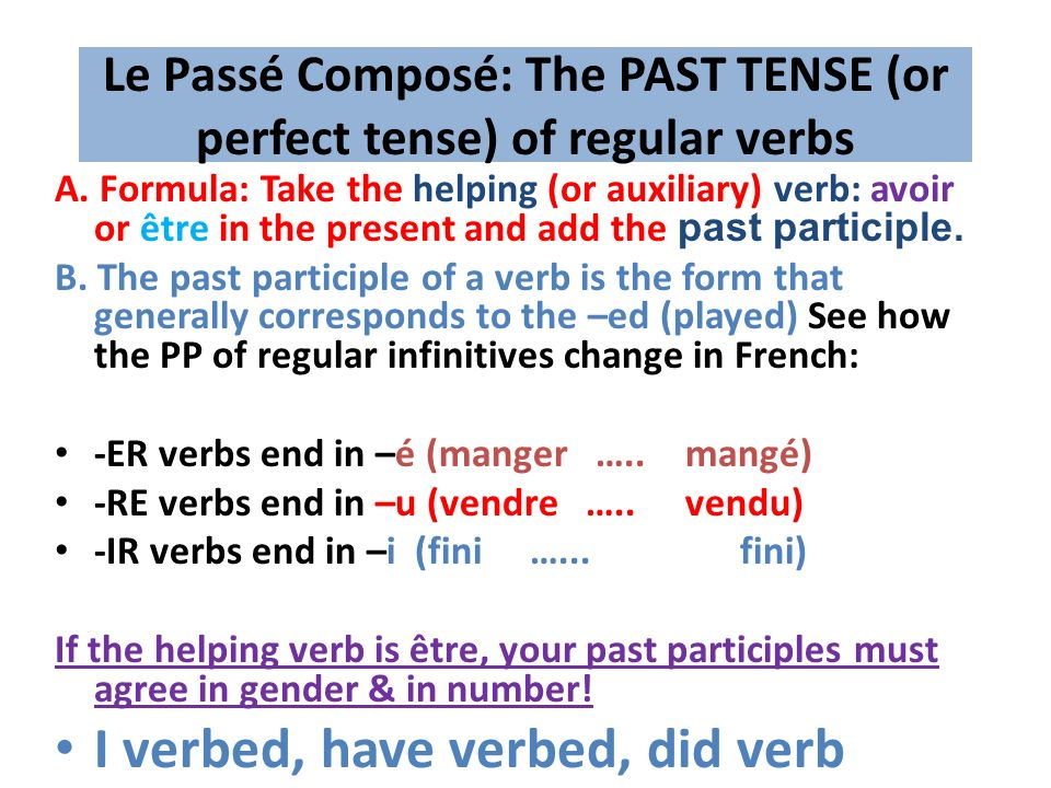 F 2 REVIEW---Regular verbsLe Présent: The present tense ER verbstake off the ER off the infinitive, add these endings to the stem: E, ES, E, ONS, EZ, ENT Ex: Je joue, Nous jouons, Ils jouent, etc.
