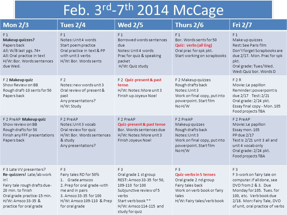 Feb.3 rd -7 th 2014 McCage Mon 2/3Tues 2/4Wed 2/5Thurs 2/6Fri 2/7 F 1 Makeup quizzes.