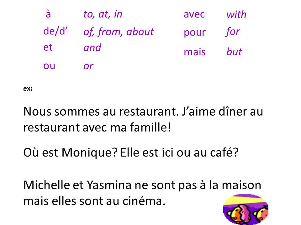 Où? ici à (nom de ville) en classe en vacances au café à la maison là en ville en France là-bas au cinéma (ciné) au restaurant (restau) Where? here To