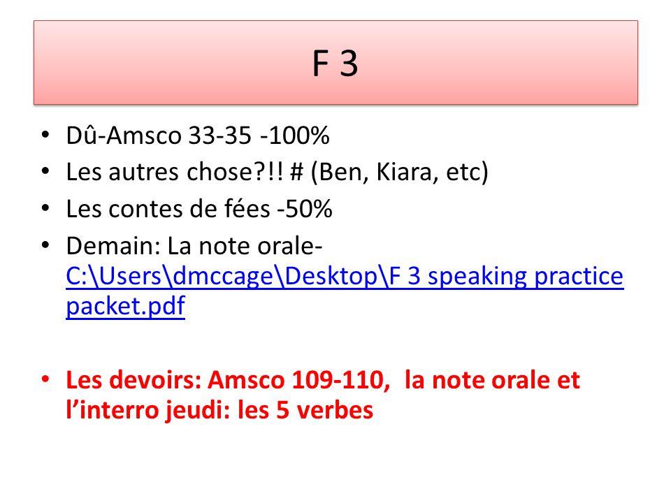 F 3 Dû-Amsco 33-35 -100% Les autres chose?!.