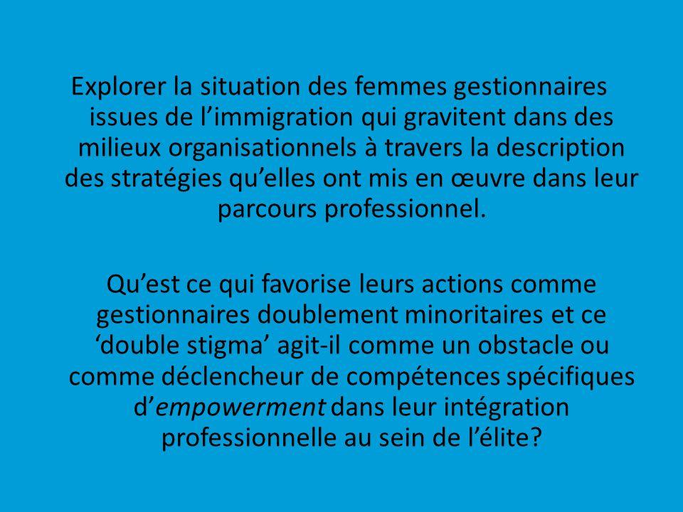 Explorer la situation des femmes gestionnaires issues de limmigration qui gravitent dans des milieux organisationnels à travers la description des str