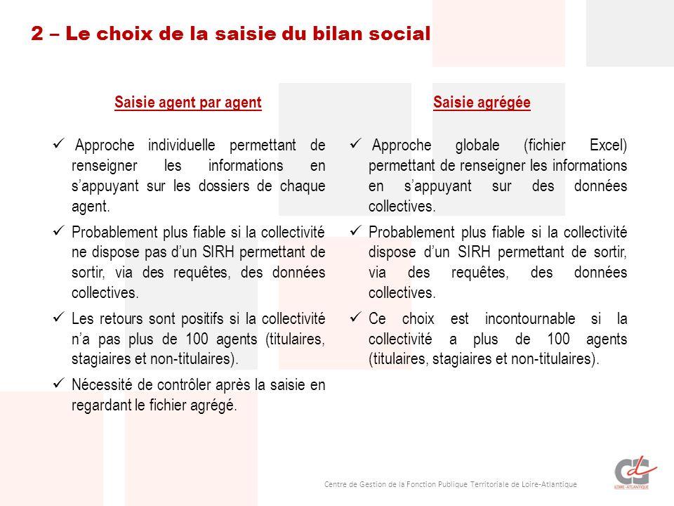 Centre de Gestion de la Fonction Publique Territoriale de Loire-Atlantique 2 – Le choix de la saisie du bilan social Saisie agent par agent Approche individuelle permettant de renseigner les informations en sappuyant sur les dossiers de chaque agent.