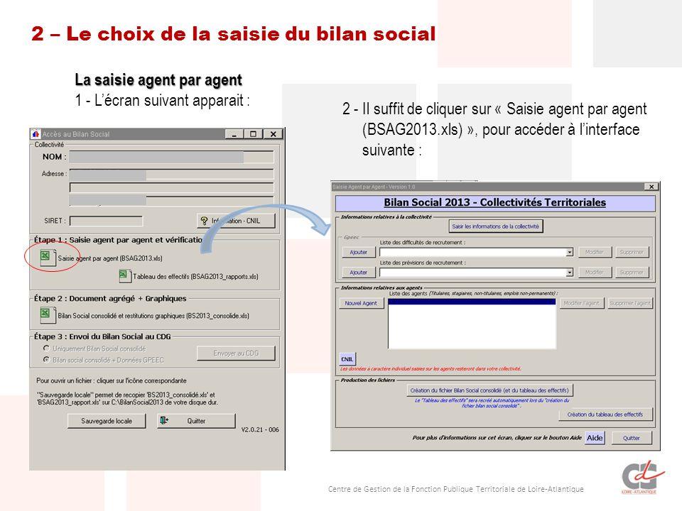 Centre de Gestion de la Fonction Publique Territoriale de Loire-Atlantique 2 – Le choix de la saisie du bilan social La saisie agent par agent 1 - Lécran suivant apparait : 2 - Il suffit de cliquer sur « Saisie agent par agent (BSAG2013.xls) », pour accéder à linterface suivante :