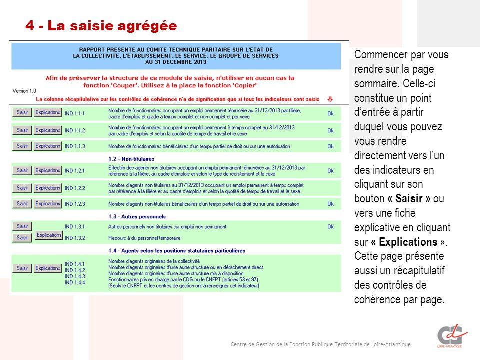 Centre de Gestion de la Fonction Publique Territoriale de Loire-Atlantique 4 - La saisie agrégée Commencer par vous rendre sur la page sommaire.