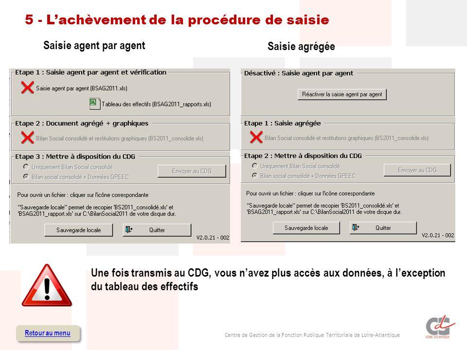 Centre de Gestion de la Fonction Publique Territoriale de Loire-Atlantique 5 - Lachèvement de la procédure de saisie Retour au menu Saisie agent par agent Saisie agrégée Une fois transmis au CDG, vous navez plus accès aux données, à lexception du tableau des effectifs