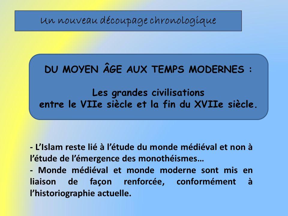 Un nouveau découpage chronologique - LIslam reste lié à létude du monde médiéval et non à létude de lémergence des monothéismes… - Monde médiéval et m