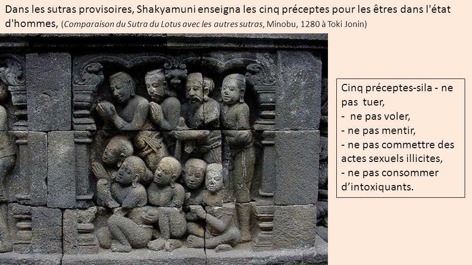 les dix préceptes de bien pour les êtres célestes (Comparaison du Sutra du Lotus avec les autres sutras, Minobu, 1280 à Toki Jonin) éviter de commettre les dix mauvaises actions : 1) meurtre, 2) vol, 3) mensonge, 4) actes sexuels illicites, 5) flatterie ou bavardage irresponsable, 6) calomnie, 7) dissension, 8) avidité, 9) colère, 10) ignorance ou attachement à des croyances erronées.