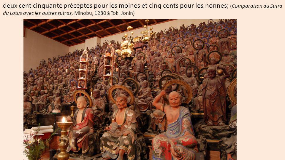 les quatre Nobles vérités aux personnes de l état d auditeurs-shravakas ; (Comparaison du Sutra du Lotus avec les autres sutras, Minobu, 1280 à Toki Jonin) 1) vérité de la souffrance : toute existence est souffrance, 2) vérité de la cause de la souffrance, 3) - vérité de la cessation de la souffrance, 4) - vérité de lOctuple Noble Chemin.