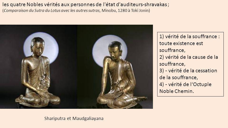 les douze liens de causalité aux pratyekabuddhas ; (Comparaison du Sutra du Lotus avec les autres sutras, Minobu, 1280 à Toki Jonin) 1- l ignorance ou obscurité fondamentale 2- l action, 3- la conscience dans la matrice, 4- les nom et forme (individualisation), 5- les six entrées (5 sens + le mental, 6- le contact 7- la sensation (agréable, désagréable), 8- le désir 9- l attachement (aliénation), 10- l existence en devenir (vie psychique, affective, spirituelle, 11- la naissance 12- la vieillesse et la mort (limpermanence)