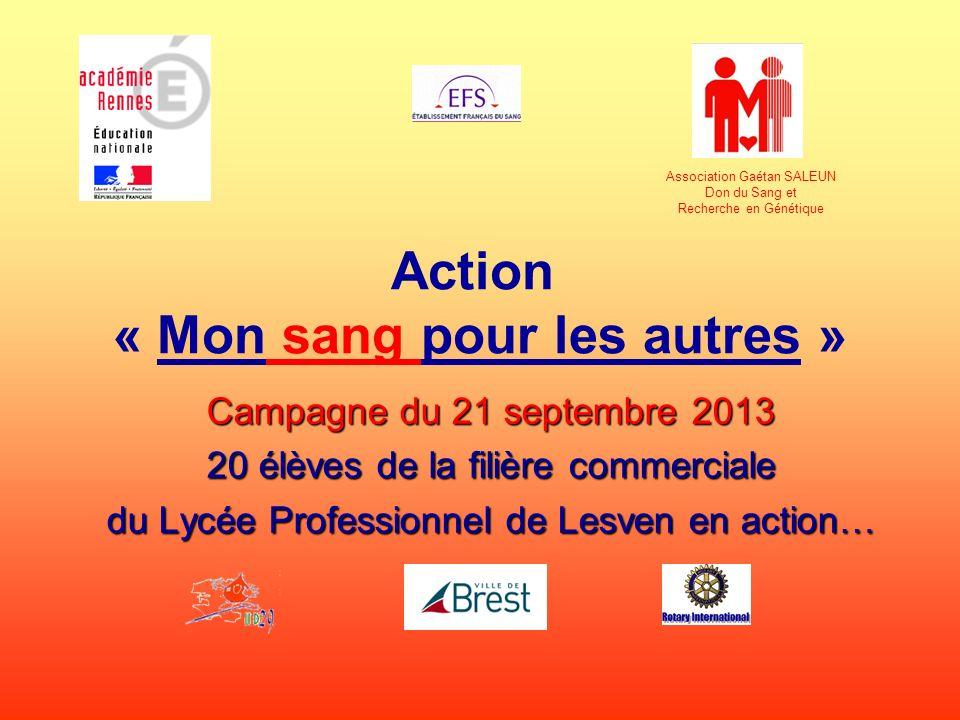 Action « Mon sang pour les autres » Campagne du 21 septembre 2013 20 élèves de la filière commerciale du Lycée Professionnel de Lesven en action… Asso