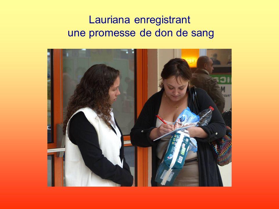Lauriana enregistrant une promesse de don de sang