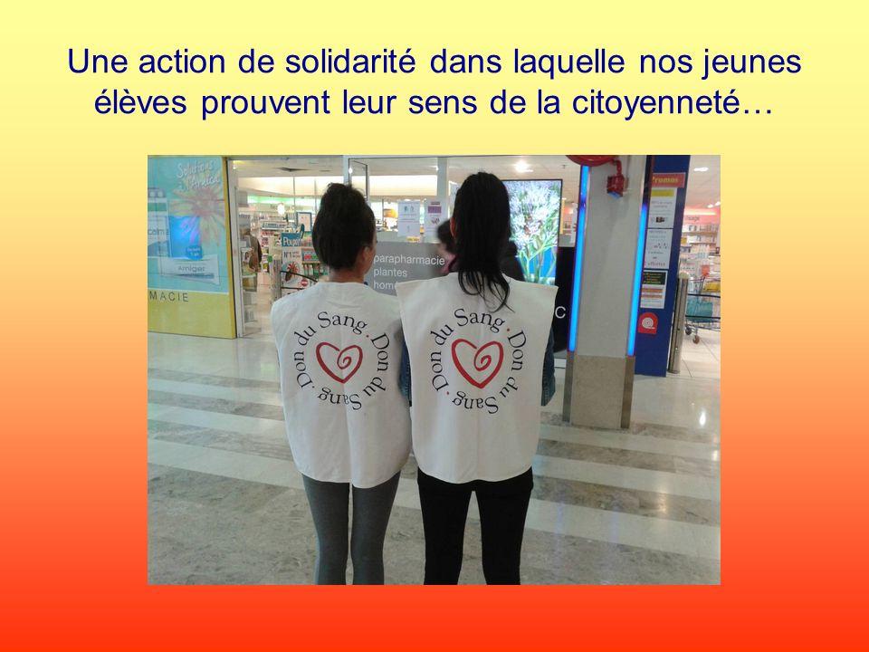 Une action de solidarité dans laquelle nos jeunes élèves prouvent leur sens de la citoyenneté…