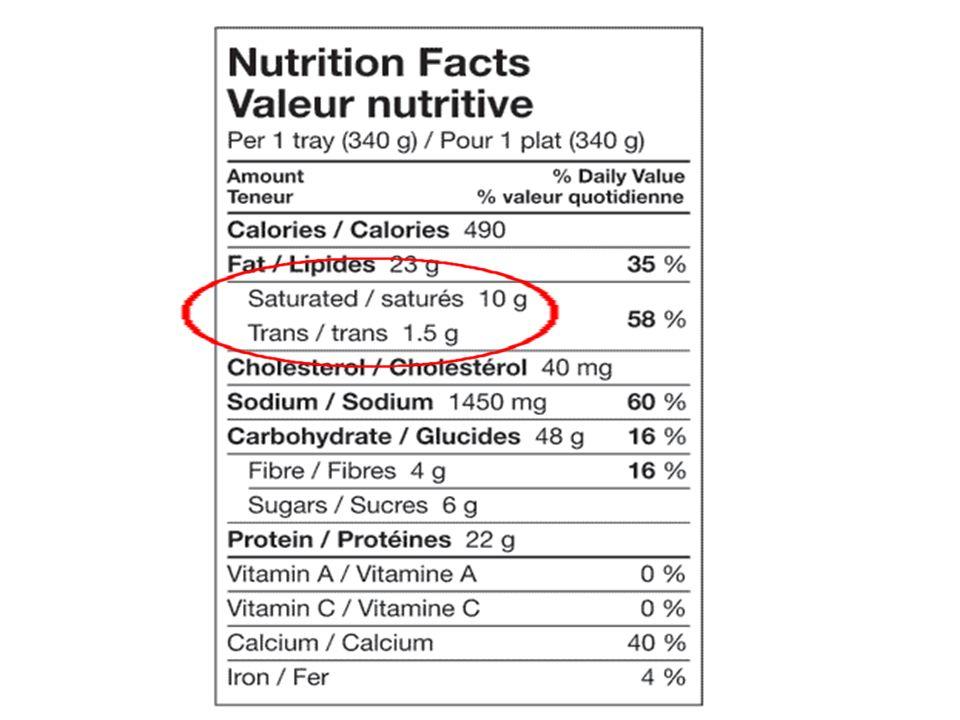 Regardez létiquette nutritionnelle pour avoir le moins possible de gras saturés et zéro gras trans.