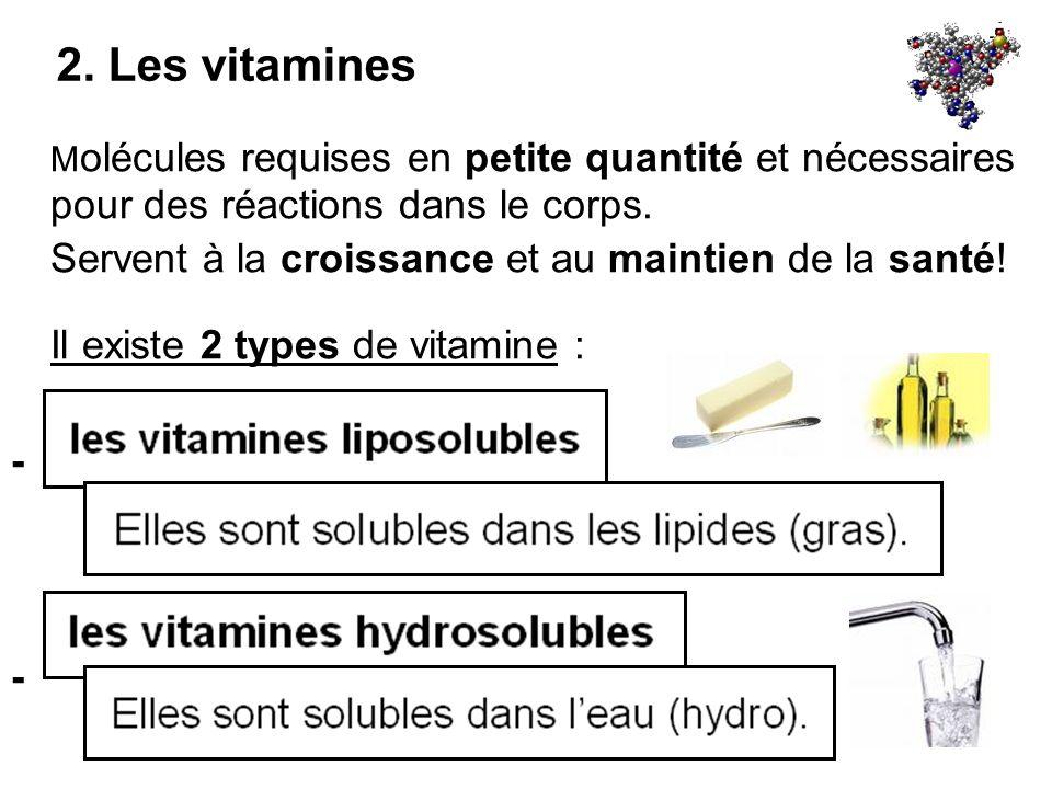 2. Les vitamines M olécules requises en petite quantité et nécessaires pour des réactions dans le corps. Servent à la croissance et au maintien de la